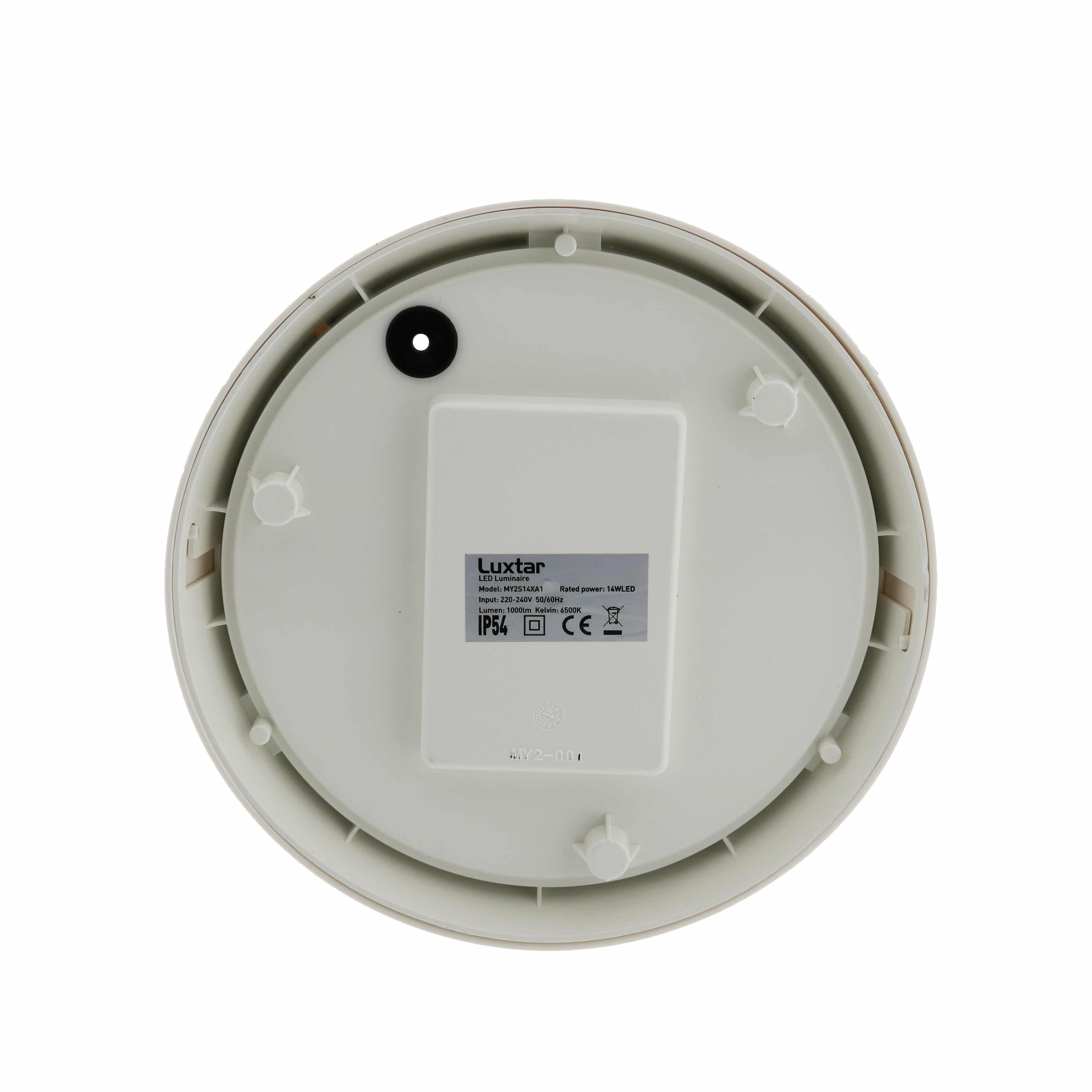 Plaf n led luxtar circular white 14w ip54 iluminashop for Plafon pared led con sensor pir