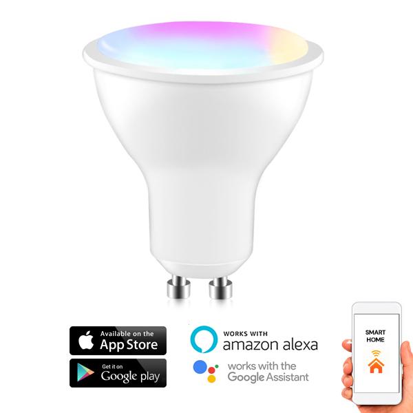 App GU10 5W Funciona con Alexa Echo SmartThings Google Home para Control de Fon/ética L/ámpara LED Bombilla Regulable RGB+Luz Blanco C/álido+Fr/ío Temporizador MoKo WiFi LED Bombilla Inteligente
